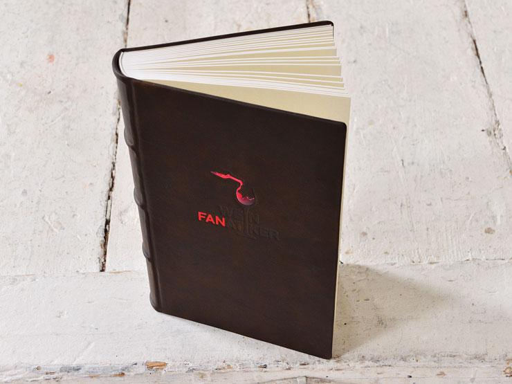 Weinbuch Leinenfalzgebunden