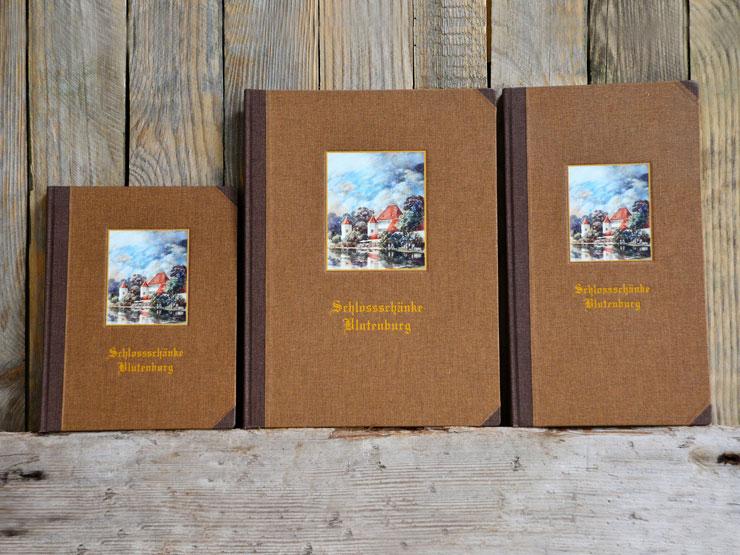 Leinenfalz - Weinbücher, Leinen, Vertieftes Schild, Prägung