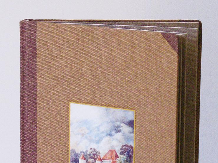 Leinenfalz gebundenes Buch aus Leinen mit Leinenflügel, Vertieftes Schild und Prägung