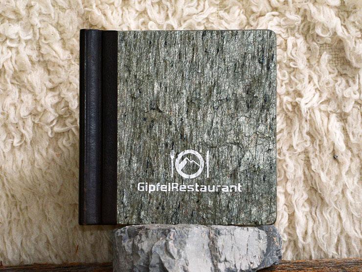 ClemmUp® - Speisekarte, Steinfurnier auf Holz, Lederrücken